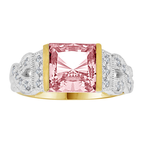 14k Yellow Gold White Rhodium, Fancy Ring Created Princess Cut Pink Color CZ Crystals (R226-710)