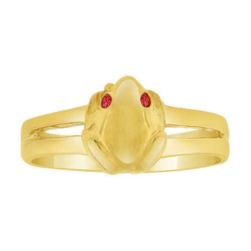 14k Yellow Gold, Small Frog Toad Ring Created Red Color CZ Crystals Eyes (R227-009)