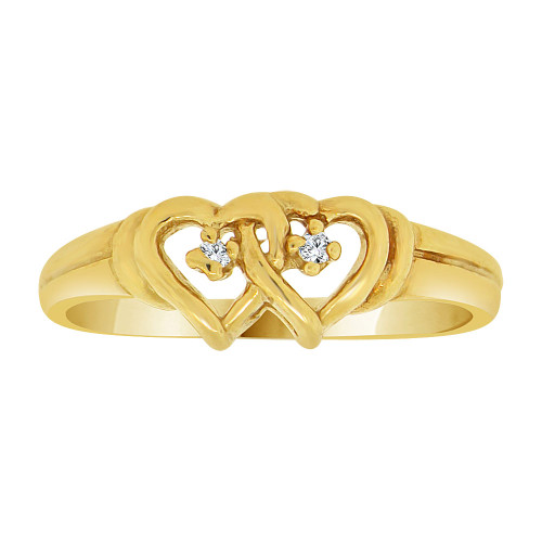 14k Yellow Gold, Small Double Heart Ring Created CZ Crystals (R227-010)