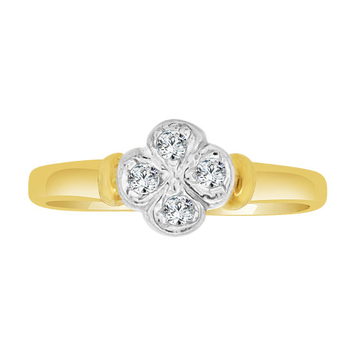14k Yellow Gold White Rhodium, Dainty Mini Four Leaf Clover Ring Created CZ Crystals (R227-011)