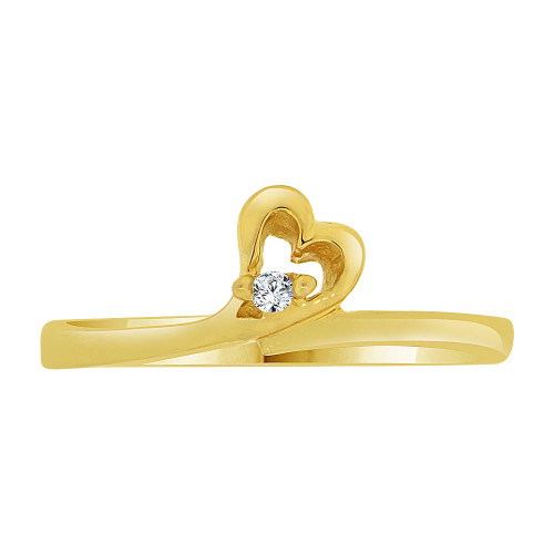 14k Yellow Gold, Dainty Thin Abstract Heart Ring Created CZ Crystals (R227-013)