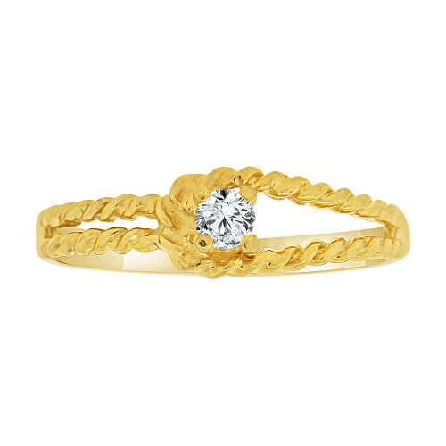 14k Yellow Gold, Dainty Small Abstract Promise Ring Created CZ Crystals (R227-014)