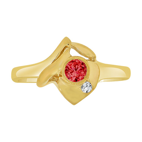 14k Yellow Gold, Abstract Small Ring Created Red Color CZ Crystals (R227-015)
