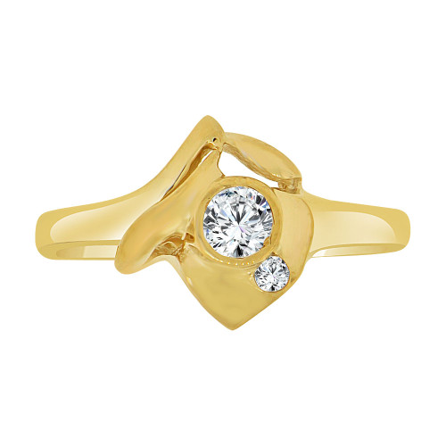 14k Yellow Gold, Abstract Small Ring Created CZ Crystals (R227-016)