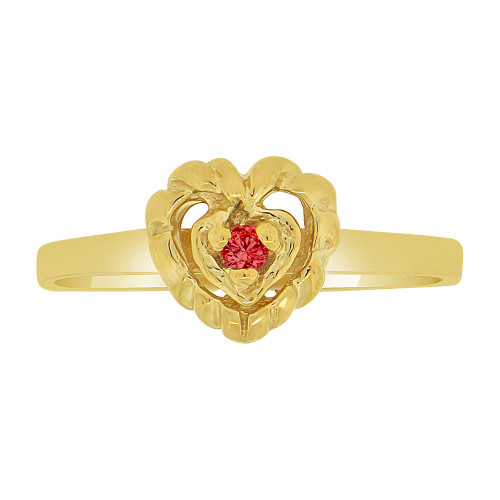 14k Yellow Gold, Dainty Small Heart Ring Created Red Color CZ Crystals (R227-017)