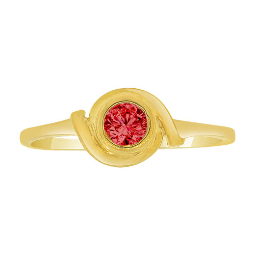14k Yellow Gold, Abstract Dainty Ring Created Red Color CZ Crystals (R227-018)