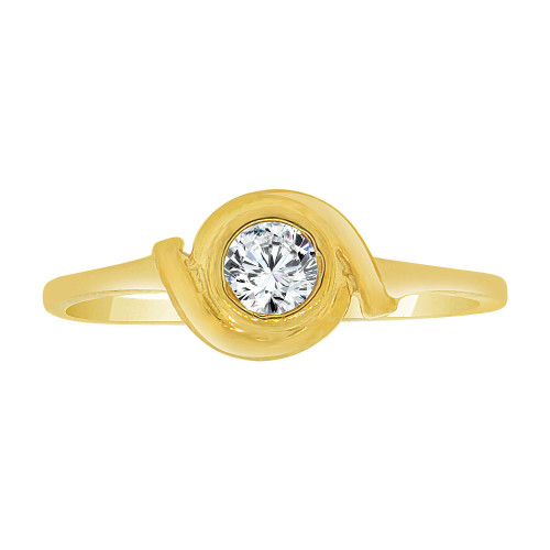 14k Yellow Gold, Abstract Dainty Ring Created CZ Crystals (R227-019)