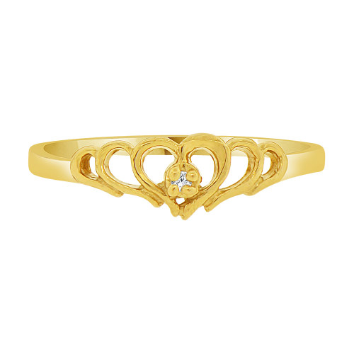 14k Yellow Gold, Dainty Small Heart Ring Created CZ Crystals (R227-022)