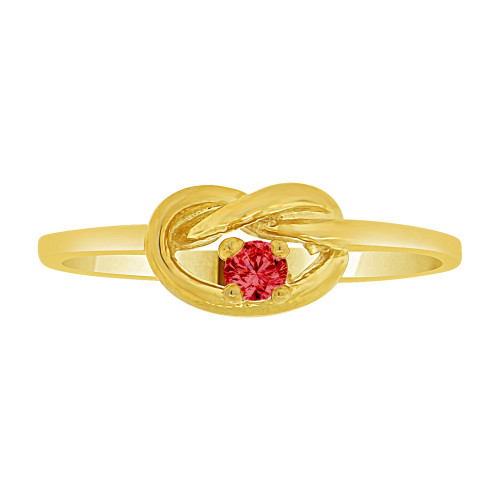 14k Yellow Gold, Dainty Knot Ring Created Red Color CZ Crystals (R227-023)