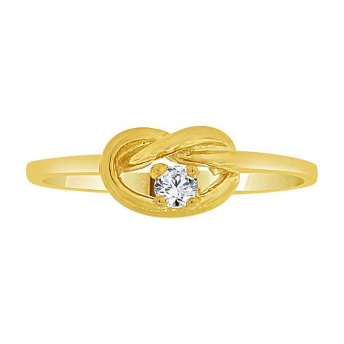 14k Yellow Gold, Dainty Knot Ring Created CZ Crystals (R227-024)