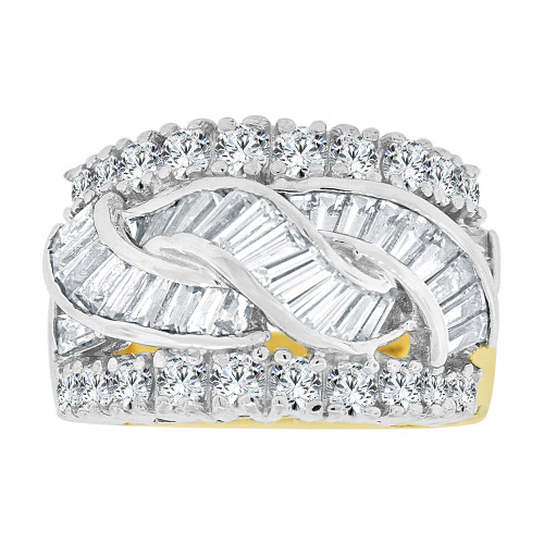14k Yellow Gold White Rhodium, Fancy Cocktail Style Band Ring Created CZ Crystals (R227-204)