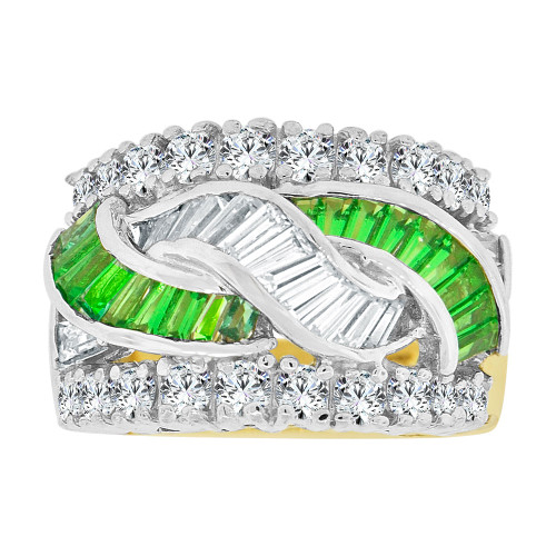 14k Yellow Gold White Rhodium, Fancy Cocktail Style Band Ring Created Green Color CZ Crystals (R227-205)