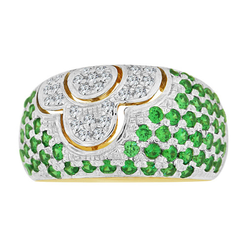 14k Yellow Gold White Rhodium, Fancy Dome Style Band Ring Created Green Color CZ Crystals (R227-305)