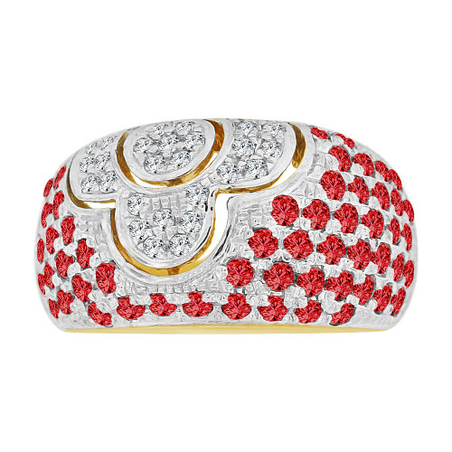 14k Yellow Gold White Rhodium, Fancy Dome Style Band Ring Created Red Color CZ Crystals (R227-307)