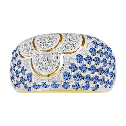 14k Yellow Gold White Rhodium, Fancy Dome Style Band Ring Created Blue Color CZ Crystals (R227-309)