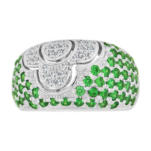 14k Gold White Rhodium, Fancy Dome Style Band Ring Created Green Color CZ Crystals (R227-355)