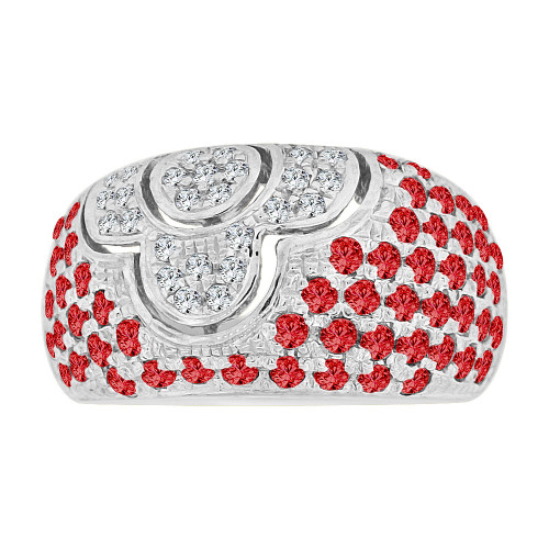 14k Gold White Rhodium, Fancy Dome Style Band Ring Created Red Color CZ Crystals (R227-357)