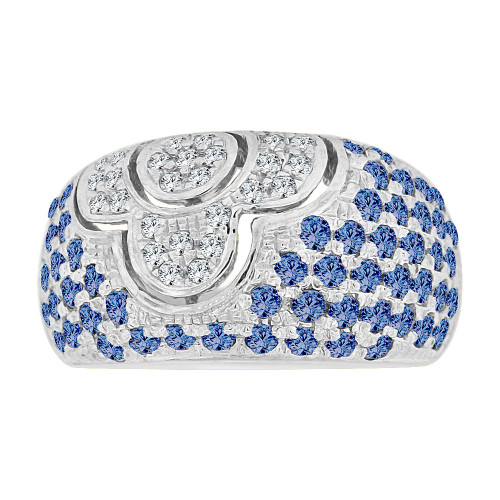 14k Gold White Rhodium, Fancy Dome Style Band Ring Created Blue Color CZ Crystals (R227-359)