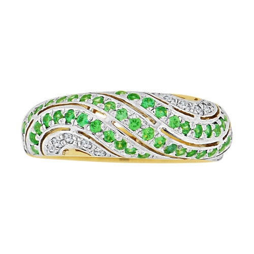 14k Yellow Gold White Rhodium, Dome Style Band Ring Created Green Color CZ Crystals (R227-505)
