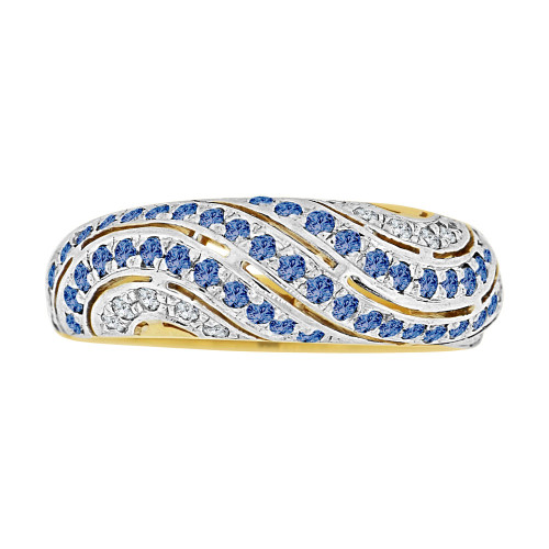 14k Yellow Gold White Rhodium, Fancy Dome Style Band Ring Created Blue Color CZ Crystals (R227-509)