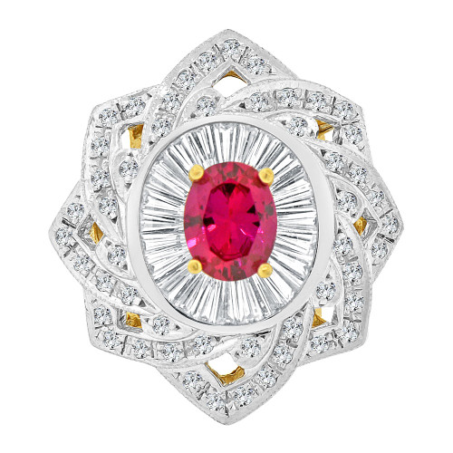 14k Yellow Gold White Rhodium, Fancy Estate Style Large Ring Created Oval Shape Red CZ Crystals (R227-807)