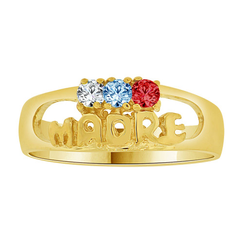 14k Yellow Gold, Madre Mother Ring Three Created Color CZ Crystals (R228-007)