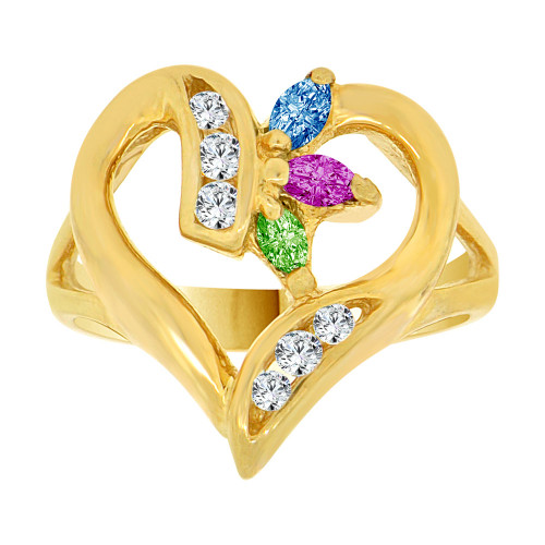 14k Yellow Gold, Fancy Heart Design Ring Created Color CZ Crystals (R229-001)