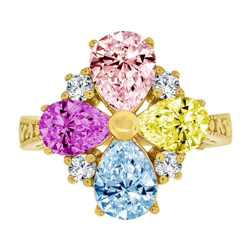 14k Yellow Gold, Fancy Cocktail Design Ring Pear Shape Created Color CZ Crystals (R229-003)