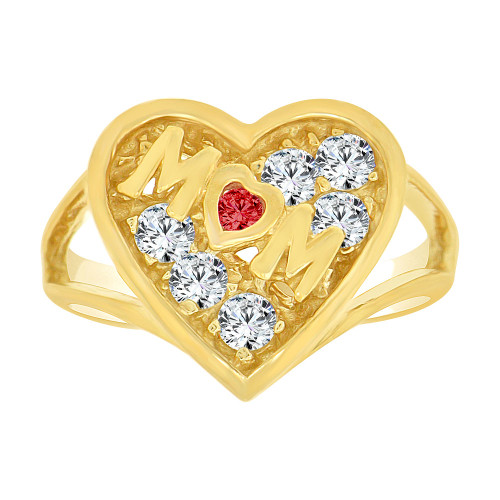 14k Yellow Gold, Heart Shape Mom Mother Ring Created CZ Crystals (R229-005)
