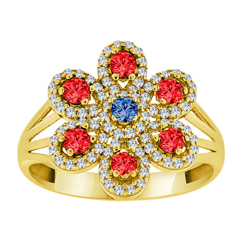 14k Yellow Gold, Fancy Flower Created CZ Color Crystals Ring (R229-019)