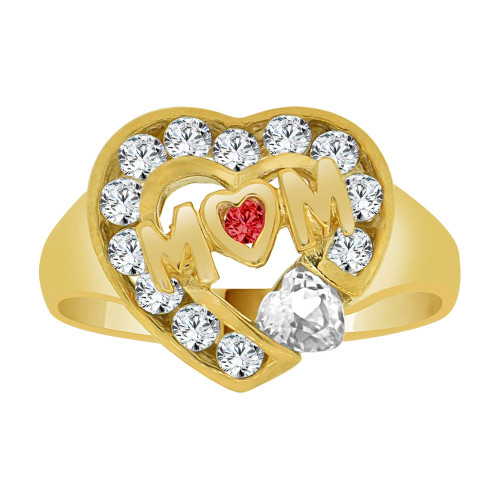 14k Yellow Gold, Heart Shape Mom Mother Ring Created CZ Crystals (R229-404)
