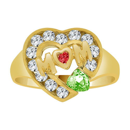 14k Yellow Gold, Heart Shape Mom Mother Ring Created CZ August Light Green Color (R229-408)