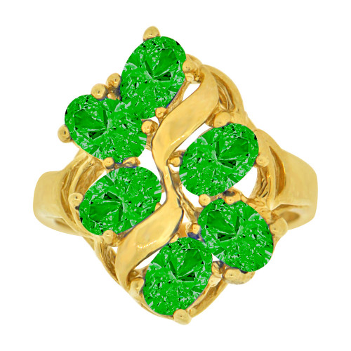14k Yellow Gold, Vintage Design Lady Ring Cluster 6 Oval Created CZ Green Crystals (R229-705)