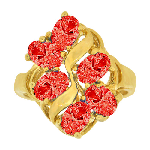 14k Yellow Gold, Vintage Design Lady Ring Cluster 6 Oval Created Red CZ Crystals (R229-707)