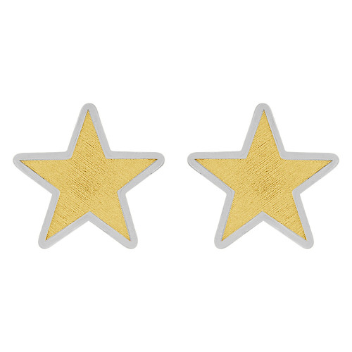 14k Yellow and White Gold, Small Size Star Stud Screw Back Earring (E108-014)