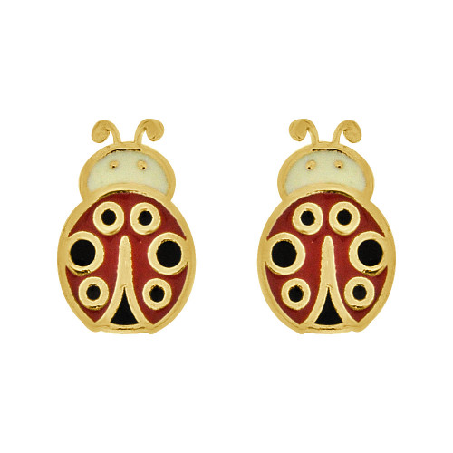 14k Yellow Gold, Mini Tiny Colorful Enamel Ladybug Stud Screw Back Earring  (E108-017)