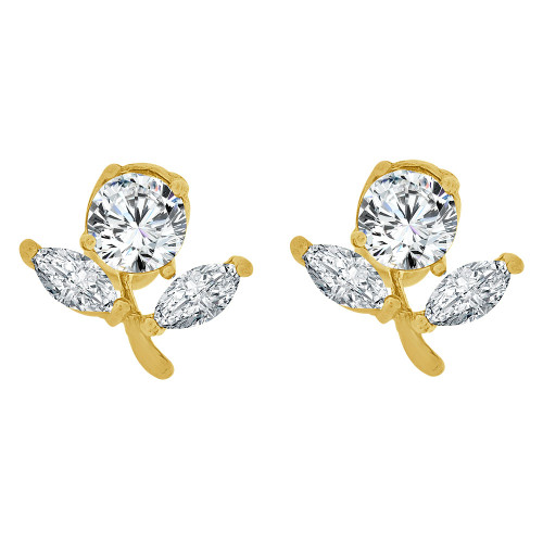 14k Yellow Gold, Mini Size Flower Stud Screw Back Earring Created CZ Crystals (E108-114)