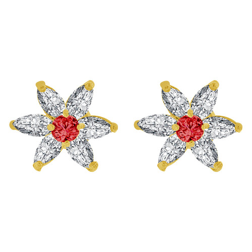14k Yellow Gold, Mini Size Flower Stud Screw Back Earring Created Red CZ Crystals (E108-207)