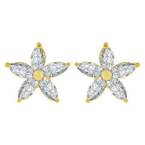 14k Yellow Gold, Mini Size Flower Stud Screw Back Earring Created CZ Crystals (E108-904)