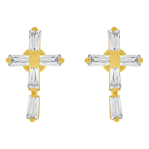 14k Yellow Gold, Small Size Cross Religious Earring Created CZ Crystals Screw Back (E109-002)