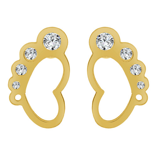 14k Yellow Gold, Hang Ten Feet Stud Screw Back Earring Created CZ Crystals (E109-011)