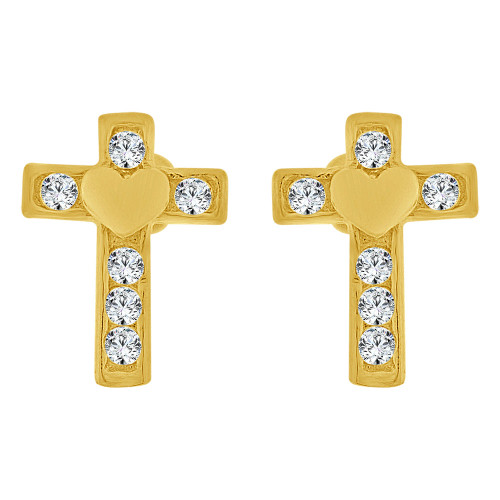 14k Yellow Gold, Mini Cross Heart Religious Stud Screw Back Earring Created CZ Crystals (E109-014)