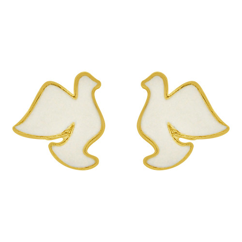 14k Yellow Gold, White Enamel Mini Bird Dove Stud Screw Back Earring  (E109-015)