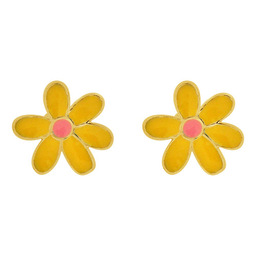 14k Yellow Gold, Yellow and Pink Enamel Mini Flower Stud Screw Back Earring  (E109-016)