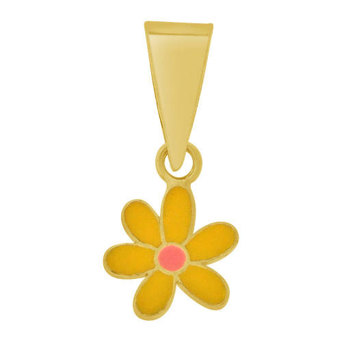14k Yellow Gold, Mini Flower Baby Pendant Charm Colorful Enamel Layer (E109-017)