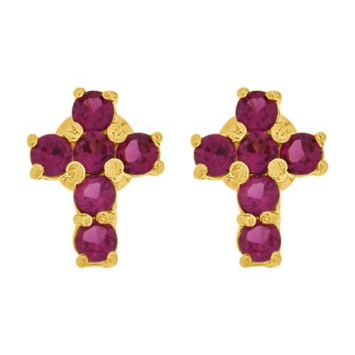 14k Yellow Gold, Mini Size Cross Religious Earring Red Created CZ Screw Back (E109-107)