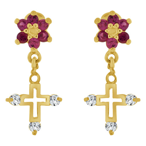 14k Yellow Gold, Mini Size Cross Religious Earring Red Created CZ Screw Back (E109-507)