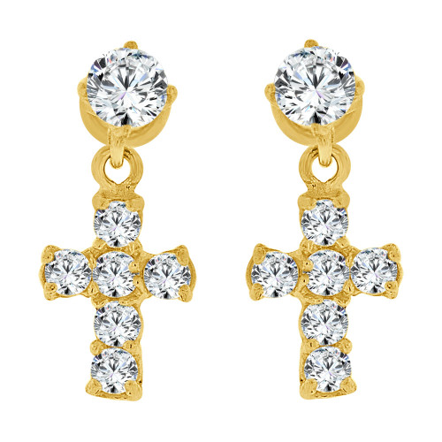 14k Yellow Gold, Mini Size Cross Religious Earring Created CZ Crystals Screw Back (E109-704)