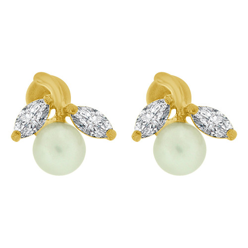 14k Yellow Gold, Mini Size Pearls & Synthetic CZ Crystals Flower Stud Earring Screw Back (E110-003)