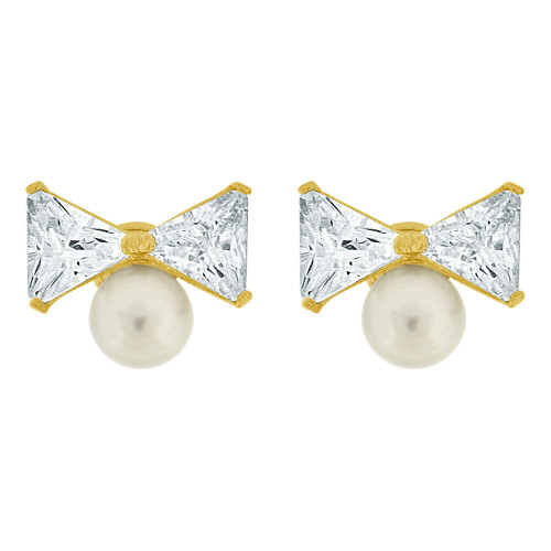 14k Yellow Gold, Mini Size Pearls & Synthetic CZ Crystals Bow Stud Earring Screw Back (E110-004)